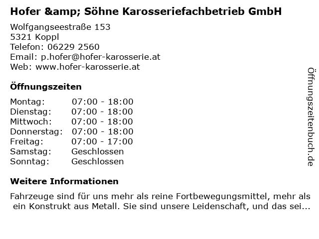 Hofer & Söhne Karosseriefachbetrieb GmbH in Koppl: Adresse und Öffnungszeiten