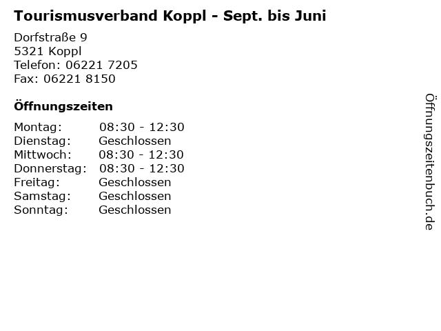 Tourismusverband Koppl - Sept. bis Juni in Koppl: Adresse und Öffnungszeiten