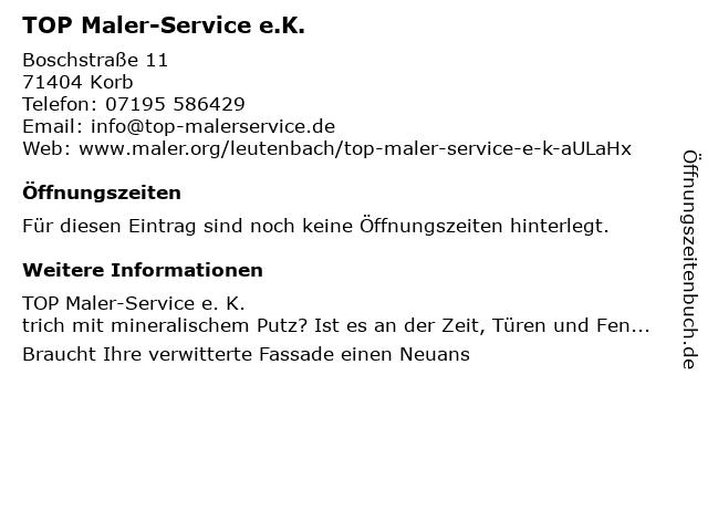 TOP Maler-Service e.K. in Korb: Adresse und Öffnungszeiten