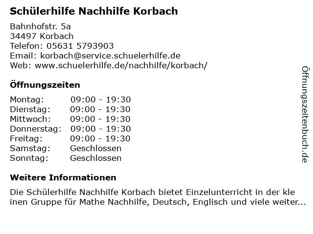 Schülerhilfe in Korbach: Adresse und Öffnungszeiten