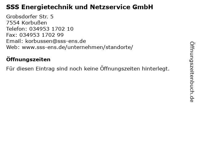 SSS Energietechnik und Netzservice GmbH in Korbußen: Adresse und Öffnungszeiten