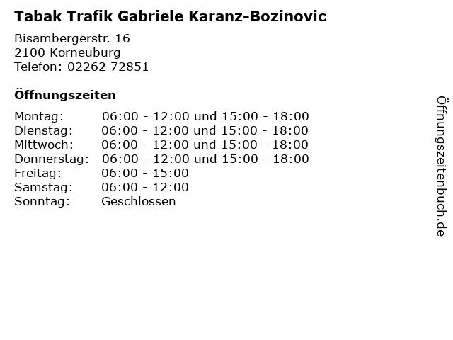 Tabak Trafik Gabriele Karanz-Bozinovic in Korneuburg: Adresse und Öffnungszeiten