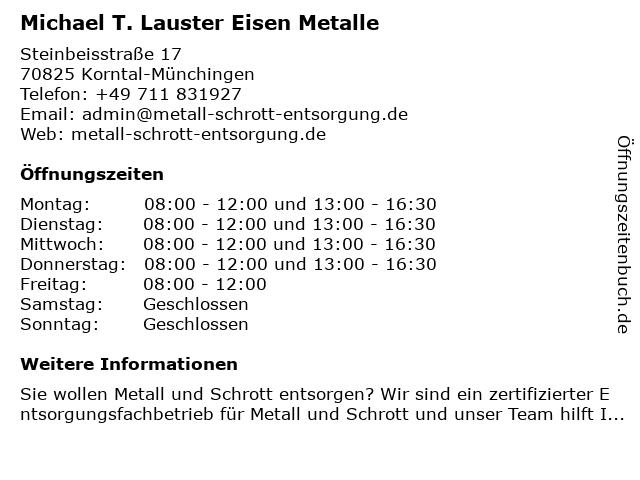 ᐅ öffnungszeiten Michael T Lauster Eisen Metalle