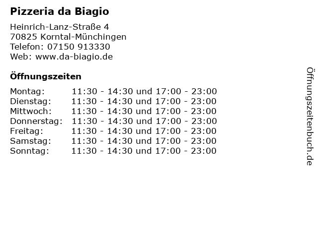 Pizzeria da Biagio in Korntal-Münchingen: Adresse und Öffnungszeiten