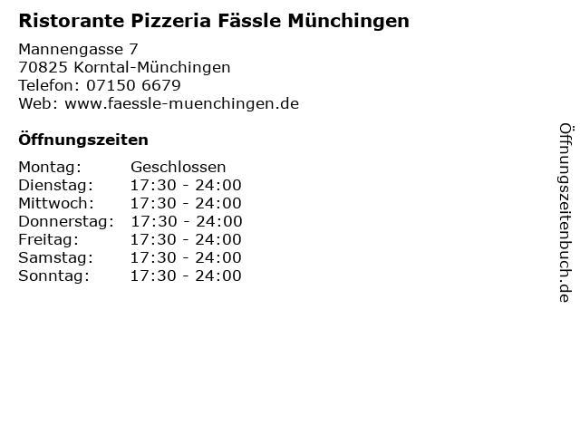 Ristorante Pizzeria Fässle Münchingen in Korntal-Münchingen: Adresse und Öffnungszeiten