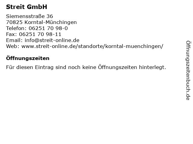 Streit GmbH in Korntal-Münchingen: Adresse und Öffnungszeiten