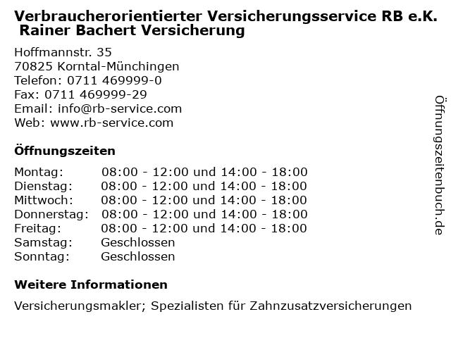 Verbraucherorientierter Versicherungsservice RB e.K. Rainer Bachert Versicherung in Korntal-Münchingen: Adresse und Öffnungszeiten