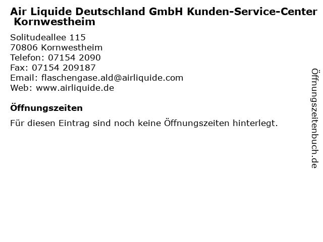 Air Liquide Deutschland GmbH Kunden-Service-Center Kornwestheim in Kornwestheim: Adresse und Öffnungszeiten