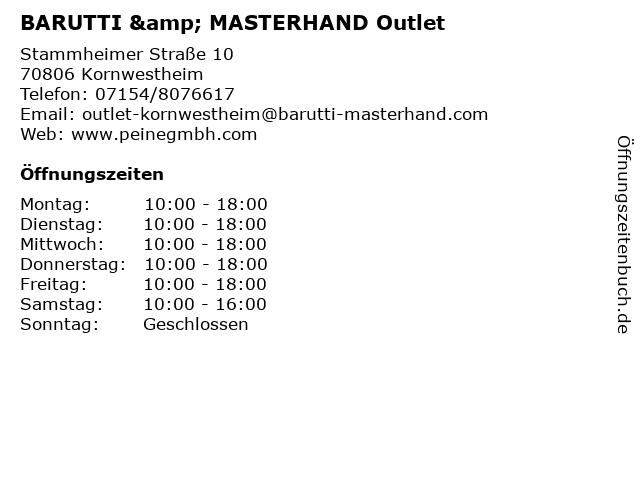 BARUTTI & MASTERHAND Outlet in Kornwestheim: Adresse und Öffnungszeiten