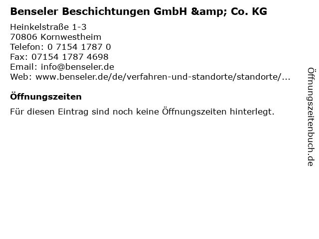 Benseler Beschichtungen GmbH & Co. KG in Kornwestheim: Adresse und Öffnungszeiten