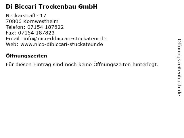 Di Biccari Innenausbau Stuckateur Trockenbau Stuckateur in Kornwestheim: Adresse und Öffnungszeiten