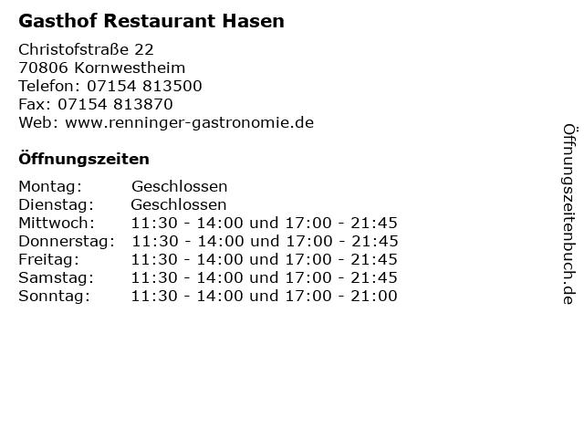 Gasthof Restaurant Hasen in Kornwestheim: Adresse und Öffnungszeiten