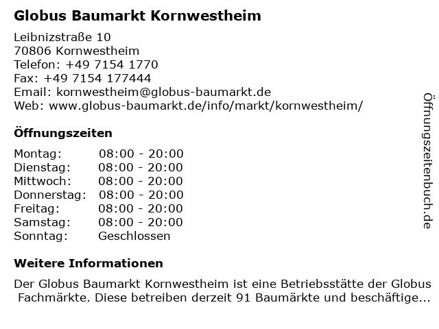Globus Baumarkt Kornwestheim in Kornwestheim: Adresse und Öffnungszeiten