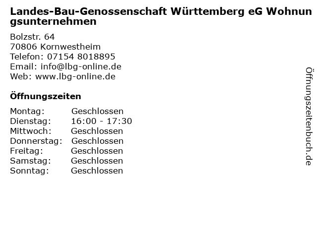 Landes-Bau-Genossenschaft Württemberg eG Wohnungsunternehmen in Kornwestheim: Adresse und Öffnungszeiten