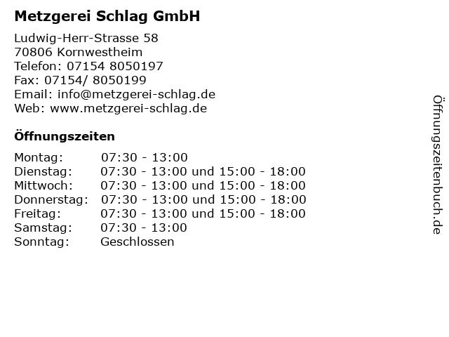 Metzgerei Schlag GmbH in Kornwestheim: Adresse und Öffnungszeiten