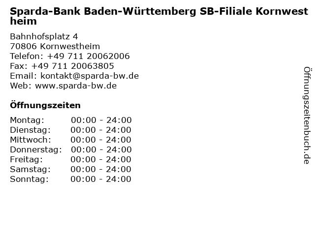 Sparda-Bank Baden-Württemberg SB-Filiale Kornwestheim in Kornwestheim: Adresse und Öffnungszeiten