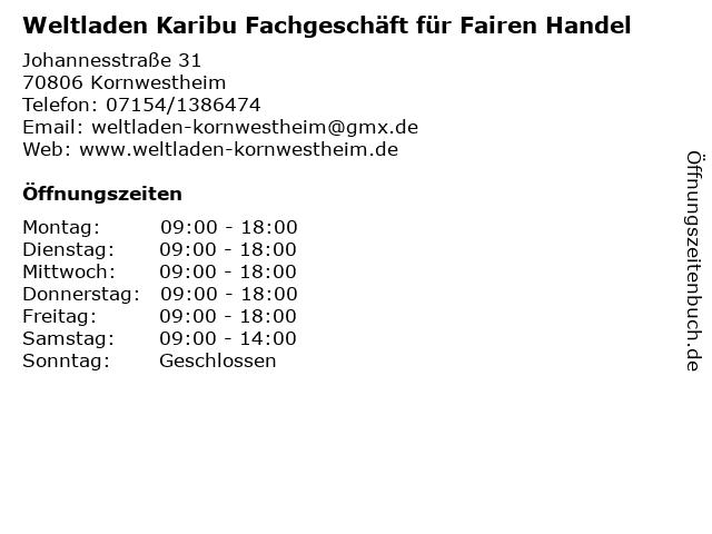Weltladen Karibu Fachgeschäft für Fairen Handel in Kornwestheim: Adresse und Öffnungszeiten