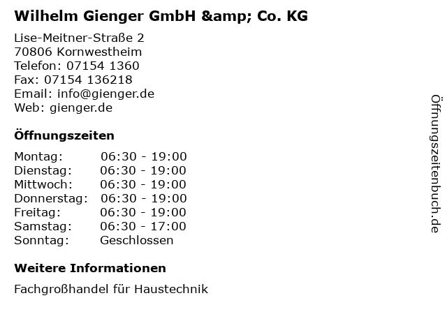 Wilhelm Gienger GmbH & Co. KG in Kornwestheim: Adresse und Öffnungszeiten