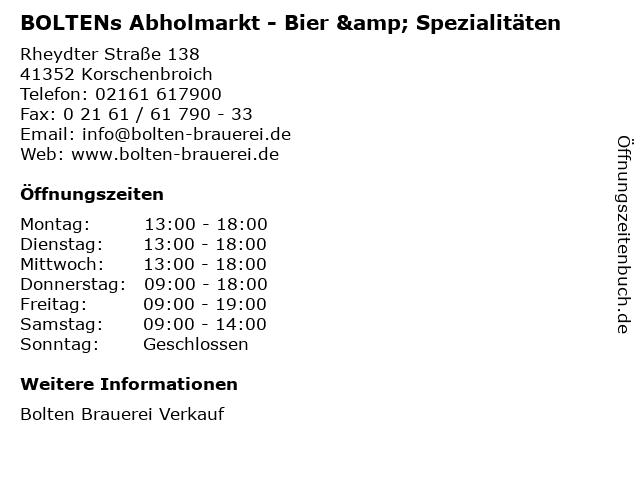 BOLTENs Abholmarkt - Bier & Spezialitäten in Korschenbroich: Adresse und Öffnungszeiten