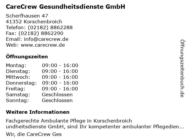CareCrew Gesundheitsdienste GmbH in Korschenbroich: Adresse und Öffnungszeiten