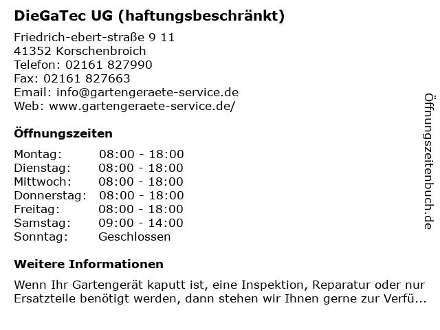 DieGaTec UG in Korschenbroich: Adresse und Öffnungszeiten