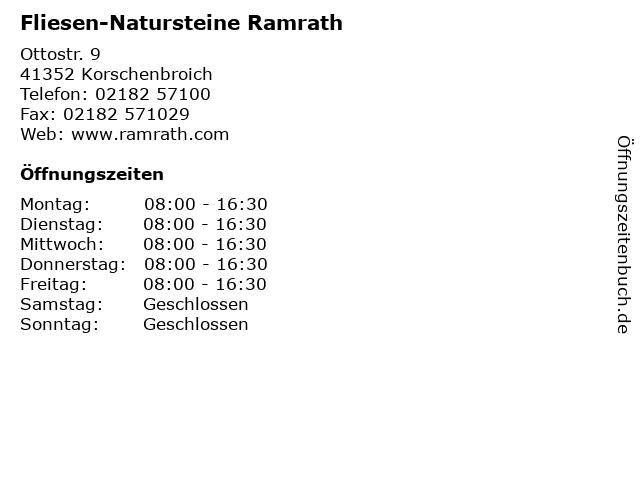 """Öffnungszeiten """"Fliesen Natursteine Ramrath"""""""