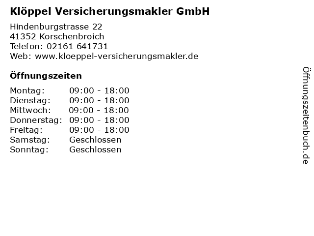 Klöppel Versicherungsmakler GmbH in Korschenbroich: Adresse und Öffnungszeiten
