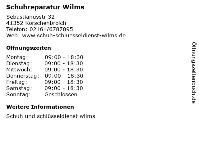 Schuhreparatur Wilms in Korschenbroich: Adresse und Öffnungszeiten