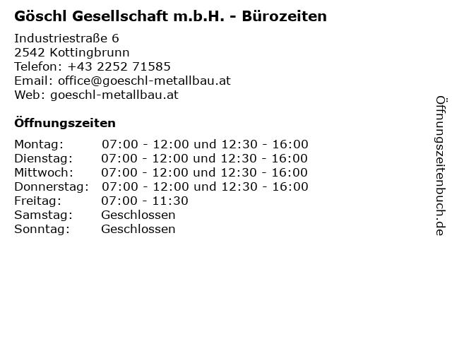 Göschl Gesellschaft m.b.H. - Bürozeiten in Kottingbrunn: Adresse und Öffnungszeiten