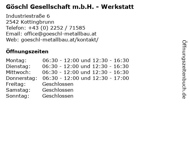 Göschl Gesellschaft m.b.H. - Werkstatt in Kottingbrunn: Adresse und Öffnungszeiten