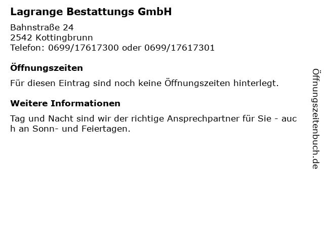 Lagrange Bestattungs GmbH in Kottingbrunn: Adresse und Öffnungszeiten