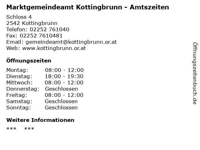 Marktgemeindeamt Kottingbrunn - Amtszeiten in Kottingbrunn: Adresse und Öffnungszeiten