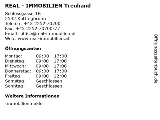 REAL - IMMOBILIEN Treuhand in Kottingbrunn: Adresse und Öffnungszeiten
