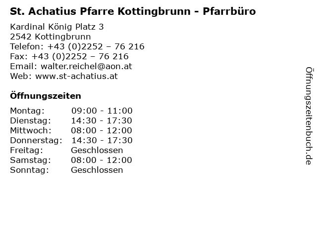 St. Achatius Pfarre Kottingbrunn - Pfarrbüro in Kottingbrunn: Adresse und Öffnungszeiten