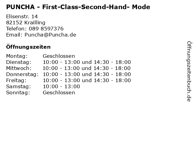 PUNCHA - First-Class-Second-Hand- Mode in Krailling: Adresse und Öffnungszeiten