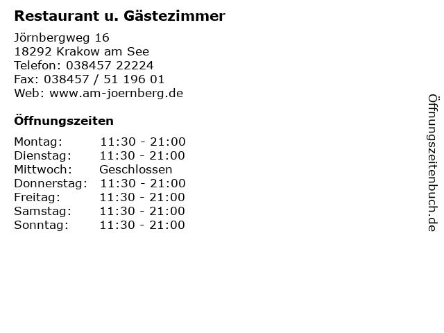 Restaurant u. Gästezimmer in Krakow am See: Adresse und Öffnungszeiten