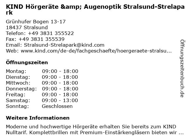 KIND Hörgeräte GmbH & Co. KG in Stralsund: Adresse und Öffnungszeiten