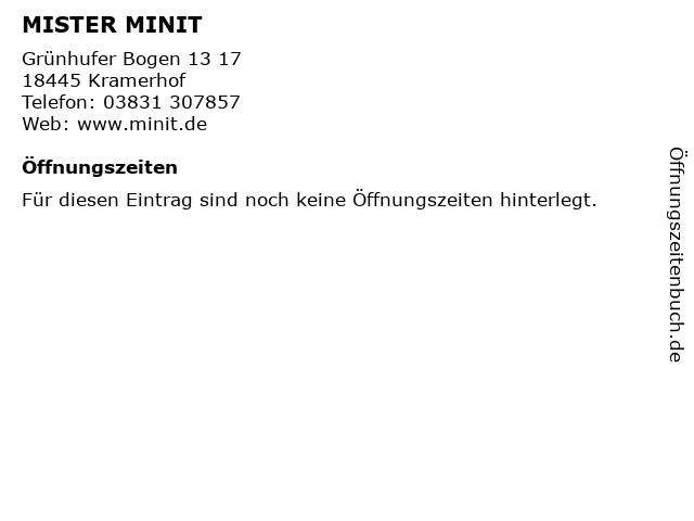 MISTER MINIT in Kramerhof: Adresse und Öffnungszeiten