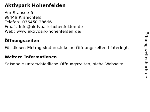 Aktivpark Hohenfelden in Kranichfeld: Adresse und Öffnungszeiten