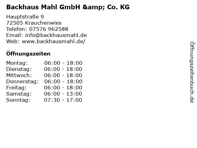 Backhaus Mahl GmbH & Co. KG in Krauchenwies: Adresse und Öffnungszeiten