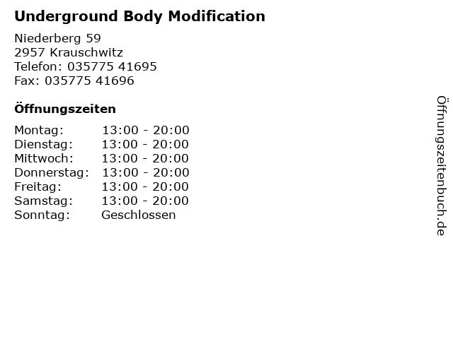 Underground Body Modification in Krauschwitz: Adresse und Öffnungszeiten