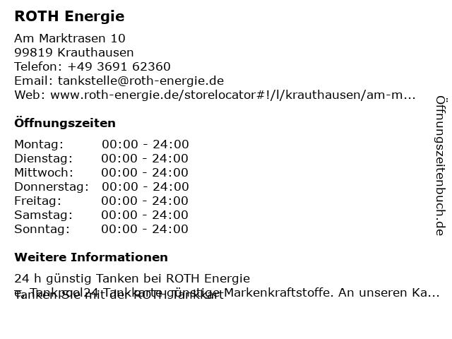 ROTH Energie in Krauthausen: Adresse und Öffnungszeiten