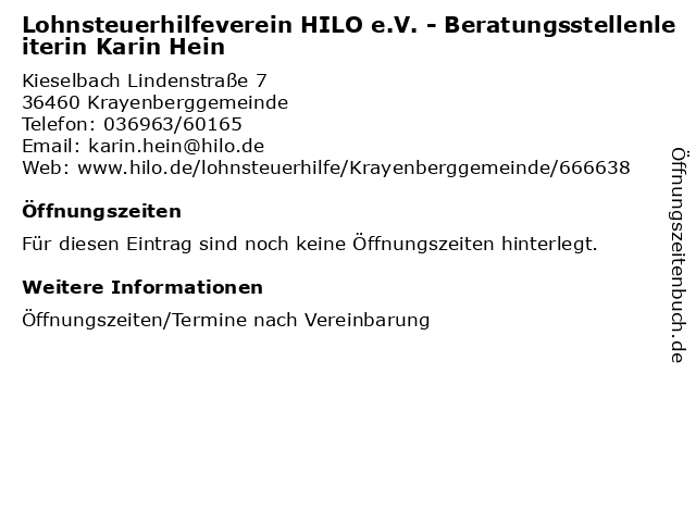 Lohnsteuerhilfeverein HILO e.V. - Beratungsstellenleiterin Karin Hein in Krayenberggemeinde: Adresse und Öffnungszeiten