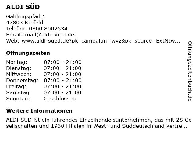 ALDI SÜD in Krefeld: Adresse und Öffnungszeiten