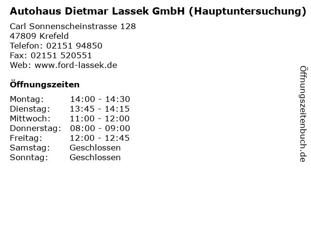 Autohaus Dietmar Lassek GmbH (Hauptuntersuchung) in Krefeld: Adresse und Öffnungszeiten