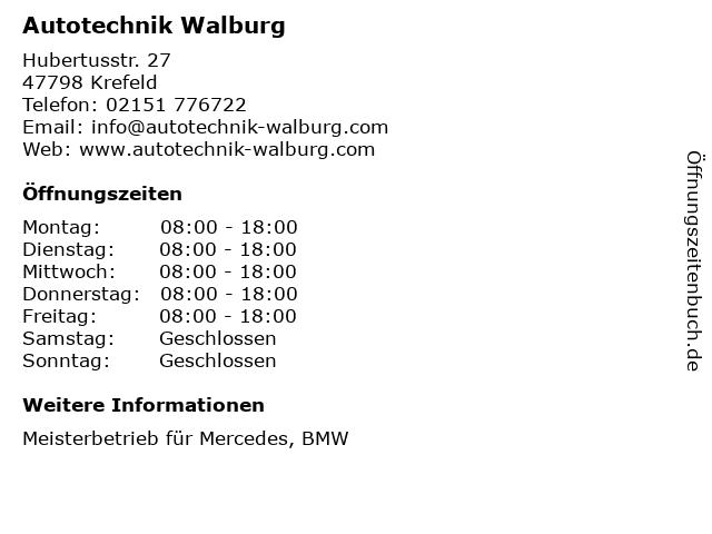 Autotechnik Walburg in Krefeld: Adresse und Öffnungszeiten