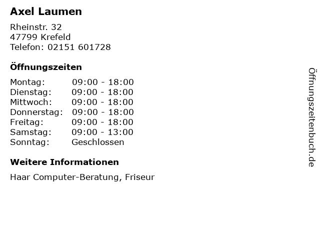Axel Laumen in Krefeld: Adresse und Öffnungszeiten