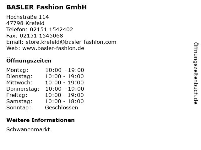 BASLER Fashion GmbH in Krefeld: Adresse und Öffnungszeiten