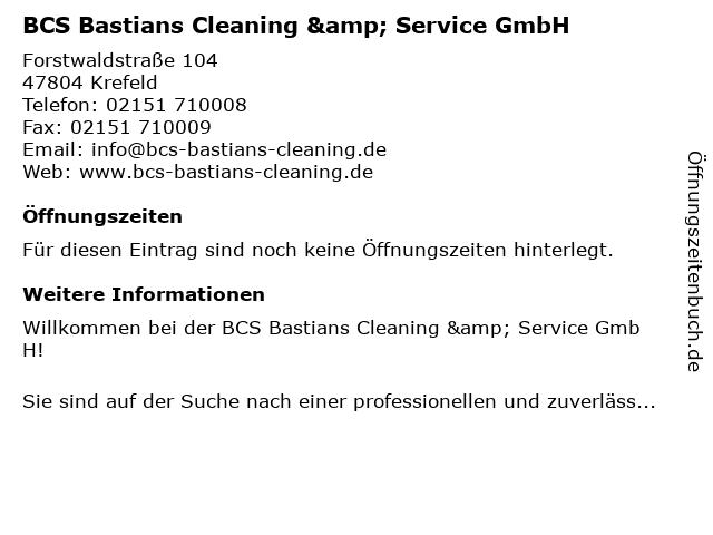 BCS Bastians Cleaning & Service GmbH in Krefeld: Adresse und Öffnungszeiten