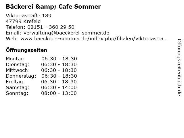Bäckerei & Cafe Sommer in Krefeld: Adresse und Öffnungszeiten